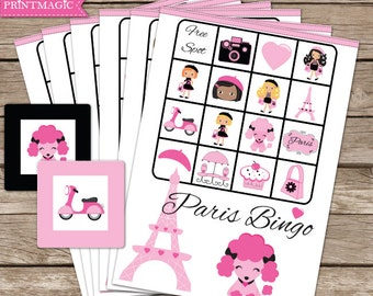 Paris Bingo Printable Party Game - Paris Birthday Party Game - Paris Party Game - Printable PDF - Instant Download - Pink Paris