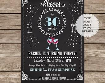 30th Birthday Invitation - 40th Birthday Invitation - 50th Birthday Invitation - 60th Birthday Invitation - Wine Tasting - Instant Download