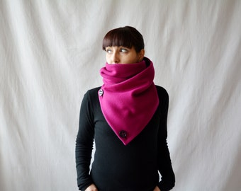 Dark pink cowl scarf, Pink neckwarmer, Christmas gift, gift for her, pink shawl, wool scarf, wool cowl, dark pink scarf, alicecloset