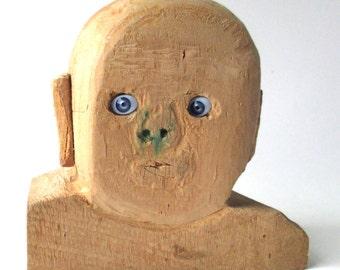 Primitive Bust Blue Eyes outsider artist, Unknown maker, crude wood carving, Art Brut, American Folk Art sculpture