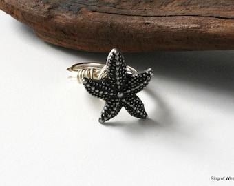 Starfish Ring, Silver Starfish Ring, Button Jewelry, Button Ring, Wire Wrapped Ring, Silver Wire Ring, Summer Ring, Starfish Button Ring