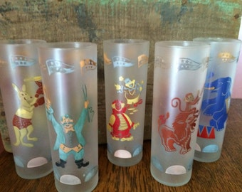 Vintage Set of 5 Libbey Circus Drinking Glasses