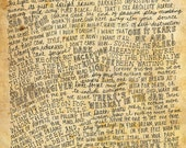 Metallica Lyrics and Quotes - 8x10 handdrawn and handlettered print on antiqued paper rock music lyrics