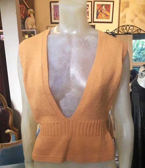 Vintage 1940s Light Orange Sweater Vest Small Medium