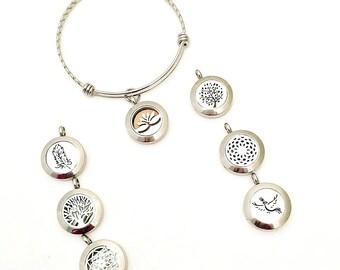 Stainless Steel Aromatherapy Bracelet - Essential Oil Diffuser Bracelet - Aromatherapy Pendant - Essential Oil Bracelet - Adjustable