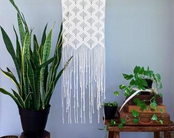"SALE Macrame Wall Hanging - Natural White Cotton Rope on 18"" Dowel - Art Deco Diamond Pattern - Boho Home, Nursery Decor - Ready To Ship"