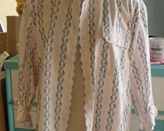 VINTAGE 1990's FLORAL BUTTONDOWN shirt pink talbots L