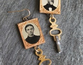 Tin type Earrings, gem ti...