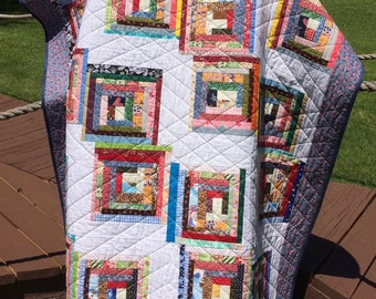 """A Liberated 51.5"""" X 62.75"""" Courthouse Steps Scrap Quilt"""
