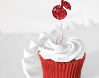 Red Cherry Glitter Cupcake Toppers for Sweet Fruity Summer Baby/  Bridal Showers, Unisex Birthday Parties, Weddings, Set of 12 Double Sided
