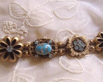Vintage Slide Style Bracelet Blue Rhinestone Four Leaf Clover Motif Vintage Costume Jewelry Baby Blue Victorain Style Jeweled