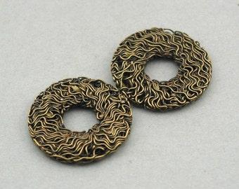 Wire Donut Pendant Charms Antique Bronze 2pcs pendant beads 30mm CM1001B