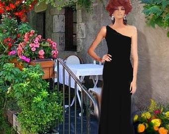 Maxi One Shoulder Dress Black Made To Measurement