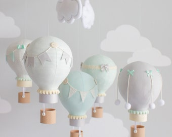 Gender Neutral Baby Mobile, Hot Air Balloon, Mint and Grey with Ivory, Nursery Decor, Travel Theme Nursery, Unique Nursery Decor,  i139