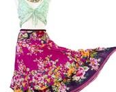 Gypsy skirt Boho Floral Maxi Festival Burlesque Belly Dance Skirt Pink Magenta Extensible waist Adjustable length Shabby Skirt Romantic
