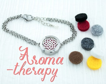BRACELET scent LOCKET/ & diffuser pads / Lotus flower / Essential Oil JEWELRY/ Aromatherapy / Stainless Steel
