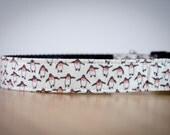 Buckle Dog Collar, Mr. Peabody, white with penquins, size medium