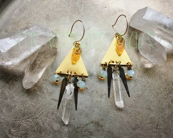 PHLOGISTON Gold Triangle Raw Quartz Points and Opaline Tribal Alchemy Earring Collection