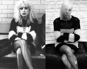 Nancy Spungen Lacy Openwork Mohair Sweater Dress Black & White Hand Knitted Made To Order Goth Visual Kei / Kera