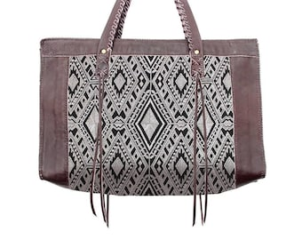 Ethnic Large Size Leather Tote Bag With In-House Embroidered Fabric (BG461W-11C24)