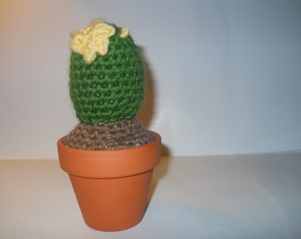 Crocheted Notocactus In Clay Pot, crocheted cactus, crocheted plant, artificial cactus, handmade cactus