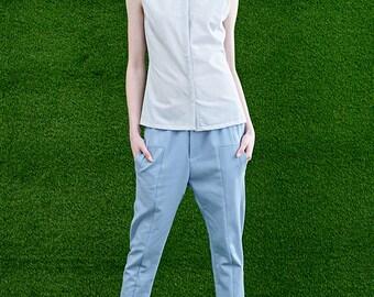 Blue Stripe Shirt - Women Sleeveless Shirt - Women Tank - Free Shipping