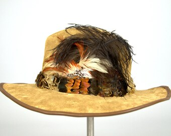Vintage Pheasant Feather Wide Brim Leather Country Western Hat