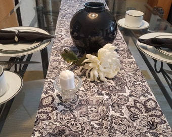 Paisley Print Black and White Table Runner