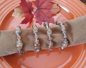 Brown Napkin Rings, Beaded Napkin Rings, Set of 4 Napkin Rings