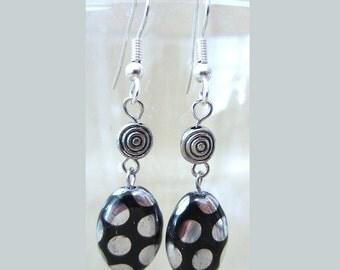 Black & Silver Polka Dot Glass and Metal Swirl Bead Earrings, Glass Disc Bead Dangle Earrings, Quirky Polka Dots Beaded Earrings Handmade