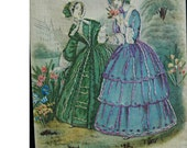 Reduced Price Two Rare Antique GODEY PICTURES PARIS Needle Work, Early Linen, Victorian Hand Embroidery Fashions Original Frames