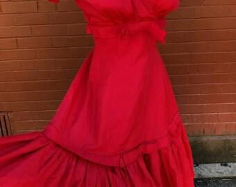 1950s Ravishing Red Senorita Dress With Sweetheart Bow