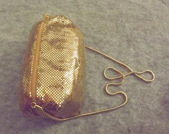 1980's Mint condition, Disco, Gold, Metal, Mesh purse, tube shaped, shoulder bag, Lyrella, Super Shiny, Glam!