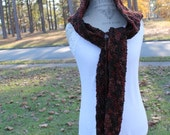 Hooded Scarf - Crochet -  Women or Teen - Brown Tones-Christmas in July SALE - 20 % off until July 31st