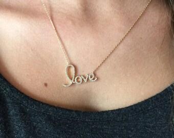 Gold CZ Love Necklace, Dainty Necklace