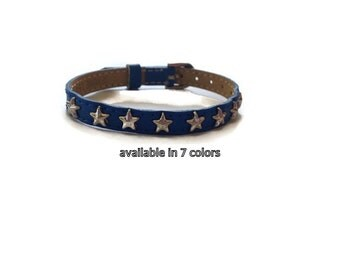 Star Studded Leather Buckle Bracelet Wristband -  Patriotic Leather Bracelet -  Adjustable - Layering bracelet