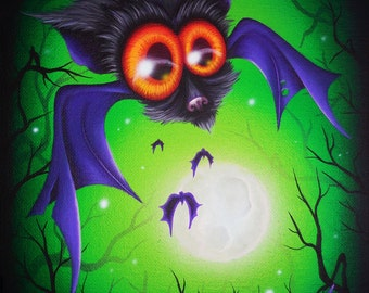 ORIGINAL Fantasy Lowbrow Big Eye Bat Haunted Halloween Forest Tree Moon Vibrant Whimsical Cute Animal Acrylic PAINTING Natalie VonRaven