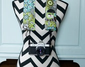 DSLR Camera Strap Cover- lens cap pocket and padding included- Grey, Lime and Teal Floral