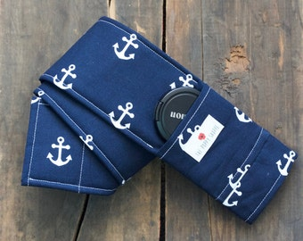 DSLR Camera Strap Cover- lens cap pocket and padding included- Navy Anchor