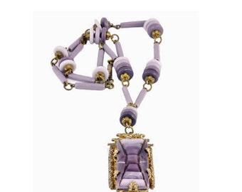 Vintage 1920's Purple Czechoslovakian Art Glass Necklace - Art Deco Style - Purple Pendant - Czech Glass Bead Necklace with Art Deco Style