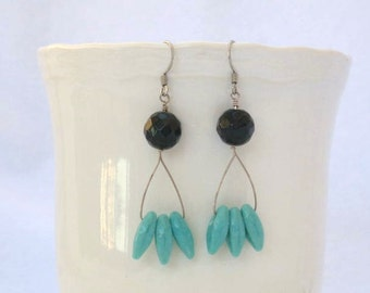 Black onyx and turquoise glass earrings