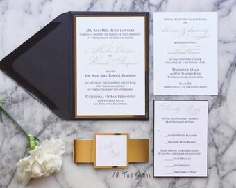 Black and Gold Wedding Invitations set, Foil Wedding Invitations, Calligraphy wedding invitations, Wedding Invitations with foil, Heather