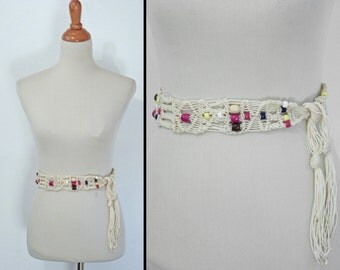 1970s Macrame Belt Woven Beaded Yellow Cherry Red Brown Taupe Cream Navy one Size