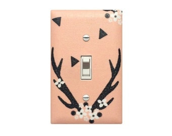 Peach Antler Switchplate / Baby Girl Nursery Decor / Stag Deer Woodland Light Switch Plate Cover / Slightly Smitten Kitten Andrea Lauren