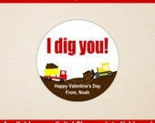 Construction Valentine Stickers - I Dig You Favor Stickers - Valentines Day Stickers - Valentine Gift Stickers - Digital and Printed