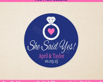 Wedding Favor Stickers - Engagement Sticker - She Said Yes - Personalized Wedding Stickers - Bridal Shower Stickers - Digital & Printed