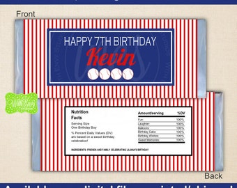 Baseball Chocolate Bar Wrappers - Sports Candy Bar Wrapper - Baseball Party Favors - Digtal & Printed Available