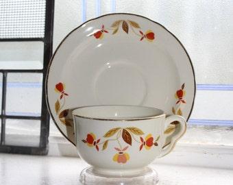 Hall Autumn Leaf Cup and Saucer Jewel Tea Vintage 1950s