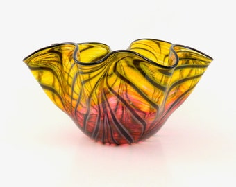 LARGE Hand Blown Art Glass Bowl