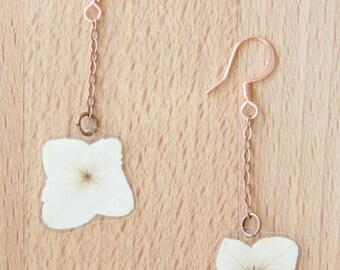 Flower Jewelry! White Hydrangea Pressed Petal Earrings